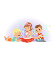 Group of little kids boys and girl reading magic vector