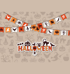 halloween background with garlands vector image