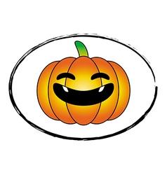 Halloween pumpkin orange cartoon stamp logo style vector