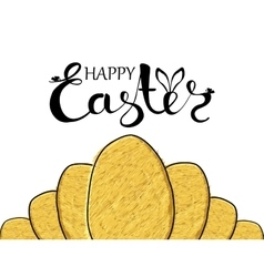 Handmade poster greetings and happy Easter with vector image vector image