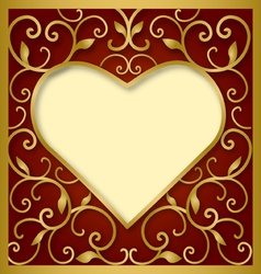 heart on red background vector image