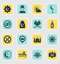 Holiday icons set collection of islamic midday vector
