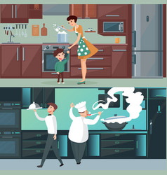 Home and restaurant kitchen horizontal banners vector