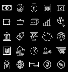 Money line icons on black background vector