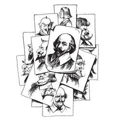 Multiple portraits of shakespeare vintage vector