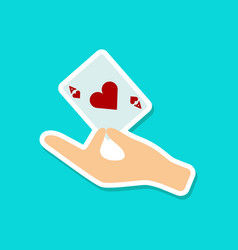 Paper sticker on stylish background hand playing vector