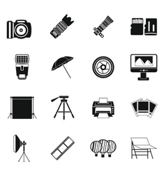 Photo studio icons set simple style vector
