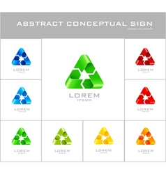 Recycling sign logo design template vector