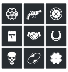 Russian roulette game icons vector