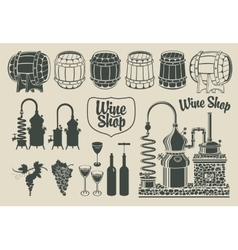 Set of objects on the topic of wine production vector
