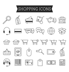 Set of On-Line Shopping icons isolated on white vector image vector image