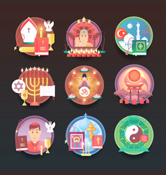 Set of religion icons religions and confessions vector