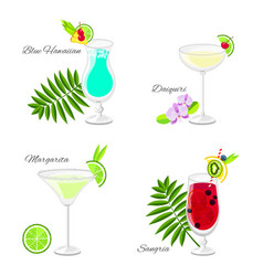 set of summer cocktails cartoon style vector image vector image