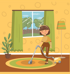smiling young brunette woman cleaning living room vector image vector image