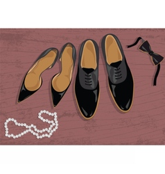 Stiletto and black leather mens shoes vector image vector image