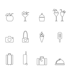 Summer line icon set vector