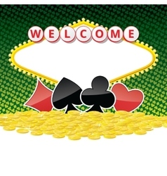 Welcome sign background with card suits and heap vector