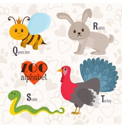Zoo alphabet with funny animals q r s t letters vector