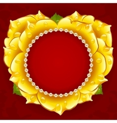 Yellow rose heart frame vector
