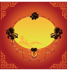 Chinese decorative background with frame vector