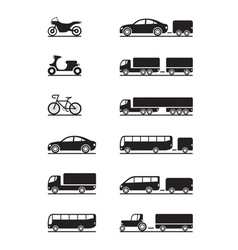 Road vehicles icon set vector