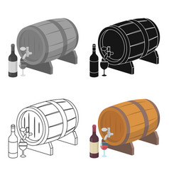 wooden wine barrel icon in cartoon style isolated vector image