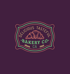 Croissant logo bakery label delicious vector