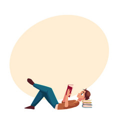 Young man boy reading book lying on the floor vector