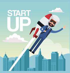 City landscape background star up business man vector