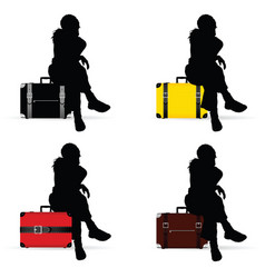 Girl silhouette sitting on vintage suitcase vector