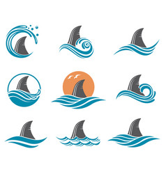 Shark fin icon set vector