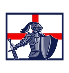 English knight holding sword england flag retro vector