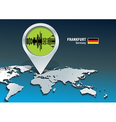 Map pin with frankfurt skyline vector