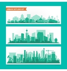 City skyline kit with factories refineries power vector