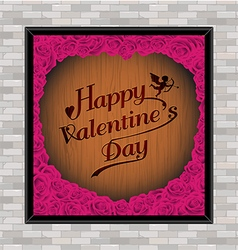 Valentine day typography rose frame on wood vector