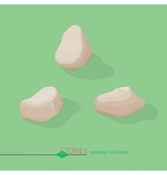 Set cartoon stones isometric color vector
