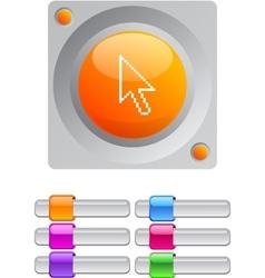 Pixel arrow color round button vector image