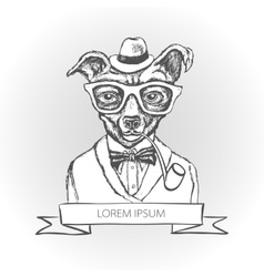 Dog hipster with tattoo dressed up vector