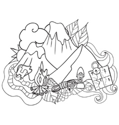 Recreation tourism and camping hand drawn doodle vector