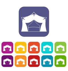 Awning tent icons set flat vector