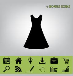 Beautiful long dress sign black icon at vector