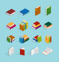 books isometric icons set vector image vector image