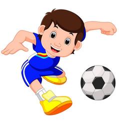 boy cartoon playing football vector image