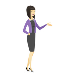 business woman with arm out in a welcoming gesture vector image vector image