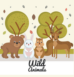 Cute wild animal nature fauna set image vector