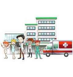 Doctors and nurse working at hospital vector image vector image