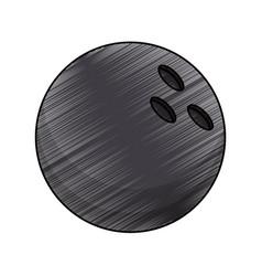 drawing bowling ball equipment vector image
