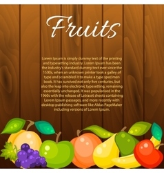Fruit banner on wood background vector image