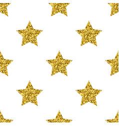golden glitter stars white seamless pattern vector image