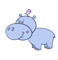Hippo with a bird-01 vector image vector image